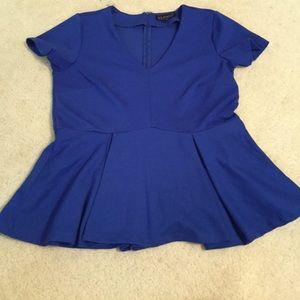 Eloquii Sexy Blue Peplum Top Shirt Blouse size 14